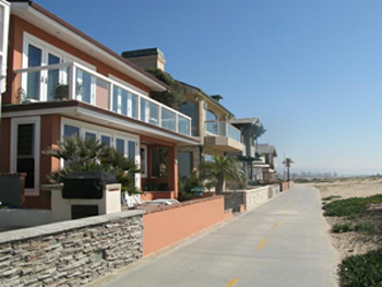 Oceanview homes on the boardwalk in Newport Beach, California